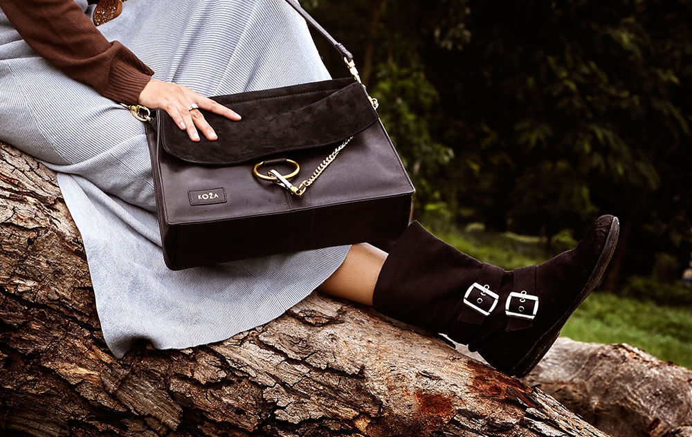 Pure Natural Leather and Suede Black Sling Bag_01